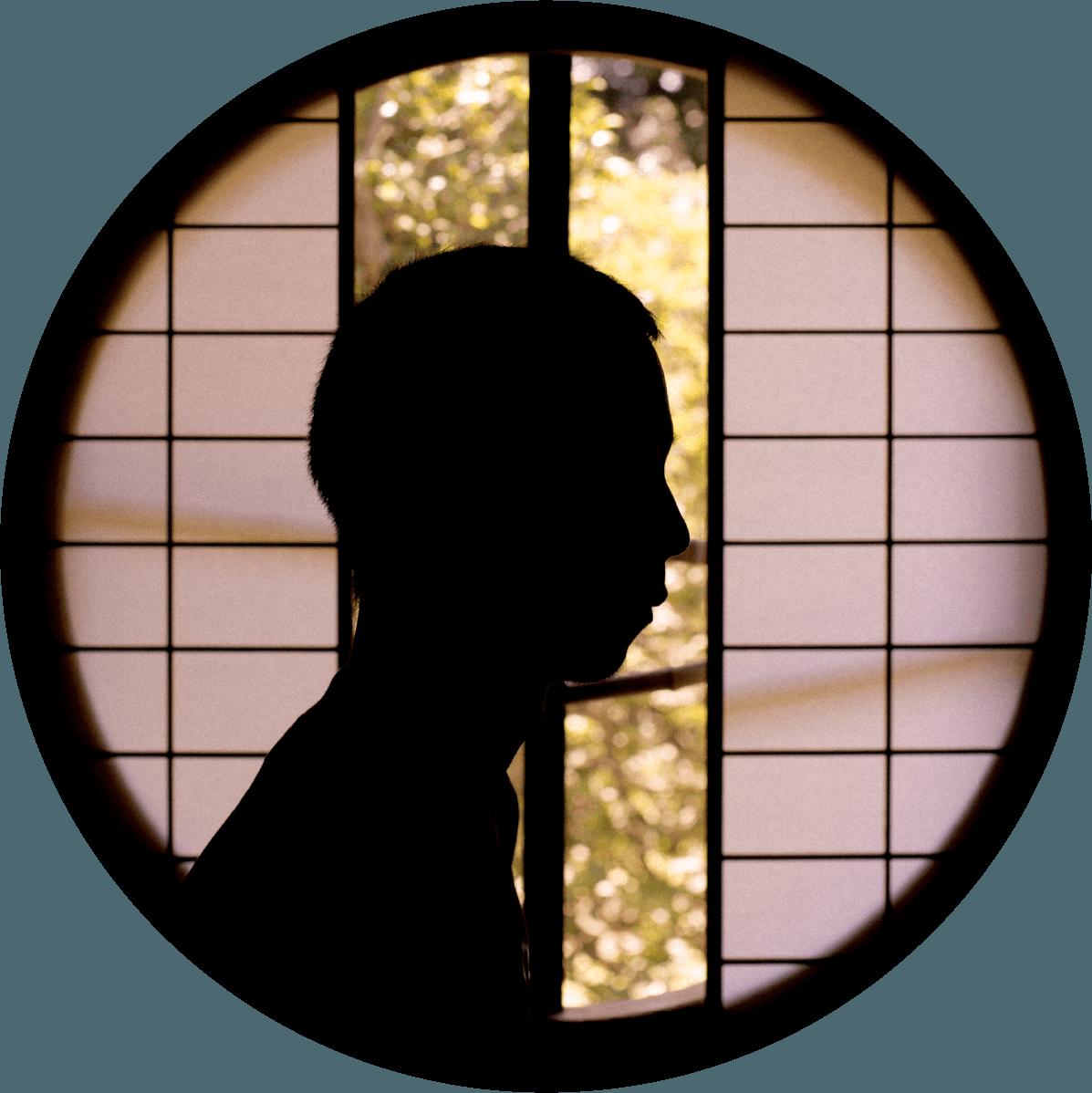 shadow profile portrait of hanzawa in a circle